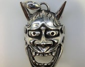 Sterling silver 925 Japanese Hannya Mask Pendant Demon Oni Evil tengu tattoo art Noh mask