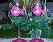Pink Girly fish hand painted wine glasses