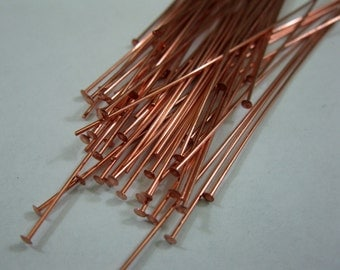 50 COPPER HEADPINS 22 gauge,  3 inch length, Bright Copper or Antique Oxidized, Ready to Ship