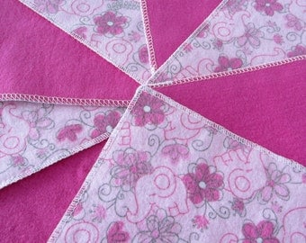 Flannel Wash Cloths/Cloth Diaper Wipes for Baby (10) in Pink with Elephants and Flowers
