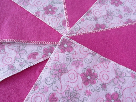 Pink Floral Flannel Washcloths for Baby from Introvert Creations