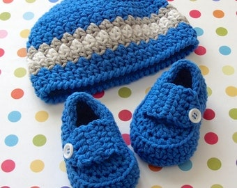 Crochet Baby Hat, Baby Booties, Baby Boy Hat, Beanie, Baby Loafers, Crochet Booties, 0 to 3 Months Size