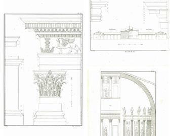 Set of 3 Antique Architectural Prints Palladio 1842