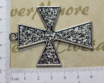 2 pcs per pack 60x50mm Texture Cross Pendant Antique Silver Lead Free Pewter