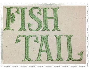 Fish Tail Machine Embroidery Font Monogram Alphabet - 3 Sizes
