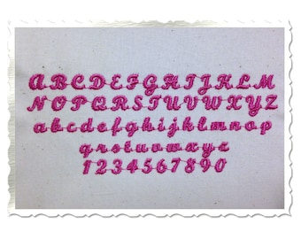 "Mini Script Machine Embroidery Font Alphabet - 1/2"", 3/8"", and 1/4"""