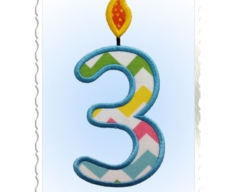 Applique Birthday Candle Numbers Machine Embroidery Design - 4 Sizes