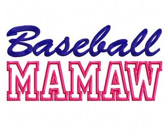 Baseball Mamaw Applique Machine Embroidery Design - 3 Sizes