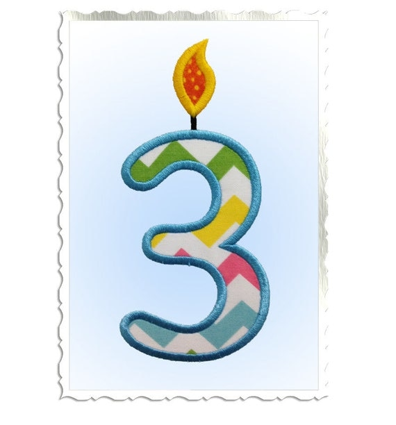 Applique birthday candle numbers machine embroidery design