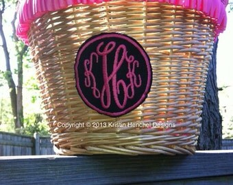 Monogrammed wicker/straw bike basket with leather straps and ruffle ribbon trim