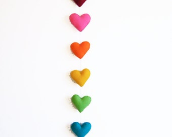 Valentines Heart Garland - handstitched felt hearts - rainbow colors - vertical garland