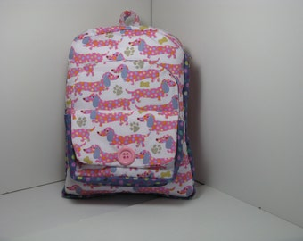 Pink Polka Dot Pups Preschool Backpack