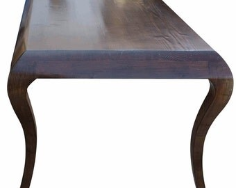 MYSTIC Cabriole Leg Dining Table Built in Reclaimed Wood Handmade in Los Angeles