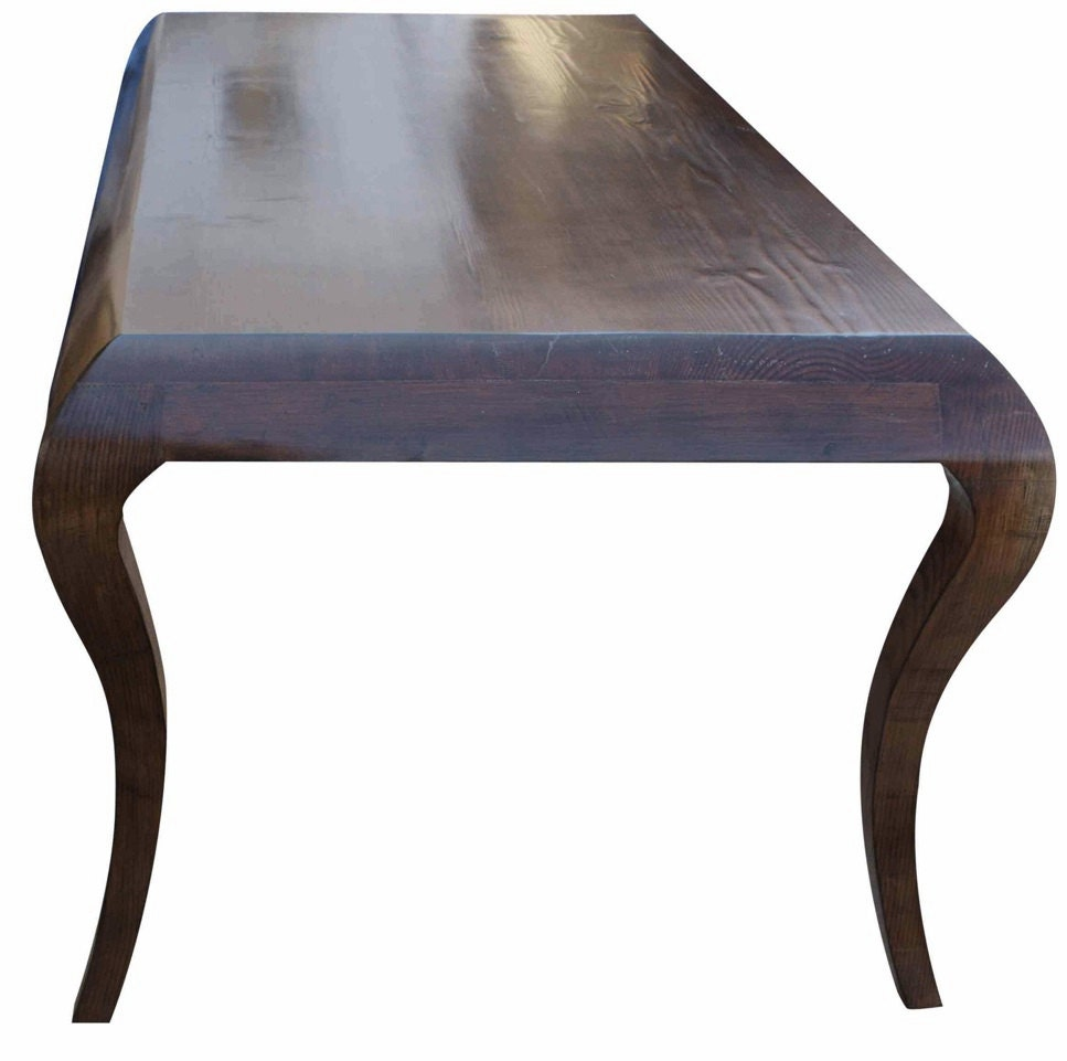 Mystic cabriole leg dining table built in reclaimed wood for Built in dining table