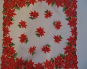 Reserved for Carol Poinsetta Christmas Holiday Hankie or Doily