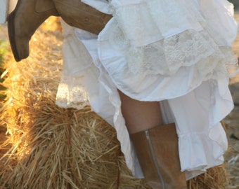 The Cowgirl Belle // Long // White, Romantic Country Western Skirt with Layers of Ruffles Lace  - made to order custom