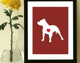 Pitbull Silhouette Art Print, Modern Dog Art