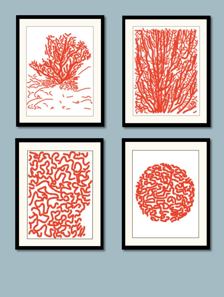 Red coral art prints blue coral art coastal wall decor for Wall art and decor