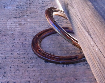 Door stop, wide gap, 2, 3, 4 inches, made from new horseshoes, country home decor.