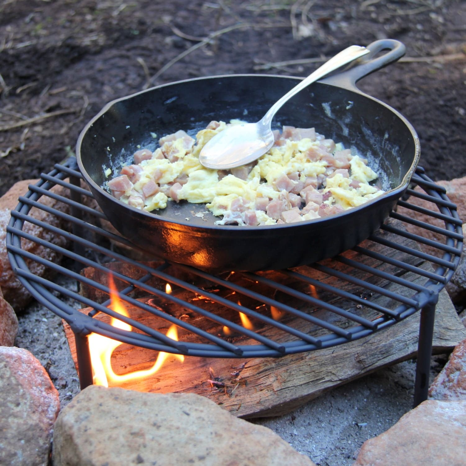 Sturdy Camping Fry Pan / Skillet Stand/ By BlacksmithCreations