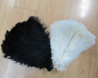 50pcs offi-white and 50pcs black ostrich feather in size 12-14 inches Just for Ji-soo kim