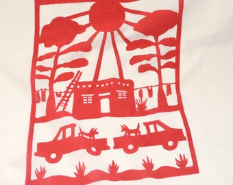 Flour Sack Dish Towel - New Mexico House: Orange or Red