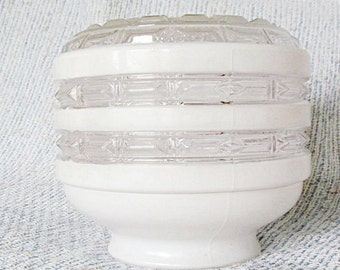 Retro Ceiling Light Fixture Frosted and Clear Glass Globe Renovation Replacement