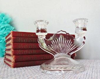 Vintage Double Candle Candlestick Holder Pressed Glass Depression Era Art Deco Home Decor