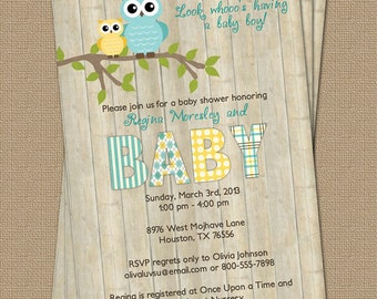 Owl baby shower invitation with wood background, blue and yellow, digital, printable file
