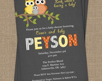 boy or girl owl baby shower invitations, baby shower invitation with yellow and orange owls, Digital, Printable file