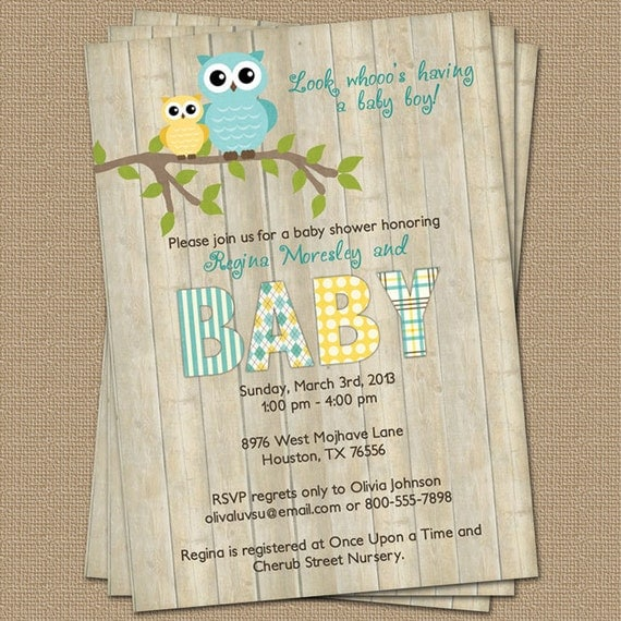 baby shower invitations owl baby shower invitation with wood background blue and 12235