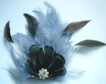 Fascinator Feather Grey with mini peacock feather & crystal jewelled