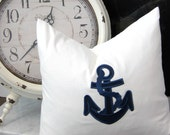 "Anchors Away, Designer Throw Pillow Cover, 20X20"" Sq"