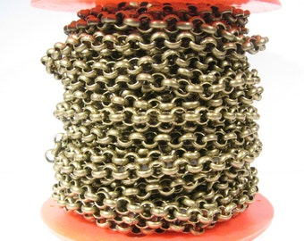 5ft 7.0mm Rolo Chain - Antique Brass - 7.0mm Links - CH50