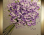 Original  abstract contemporary gallery canvas  palette knife floral painting  Lavender Bouquet  by Nicolette Vaughan Horner