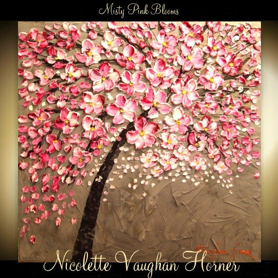 Made2order original huge landscape abstract pink cherry for Cherry blossom canvas painting