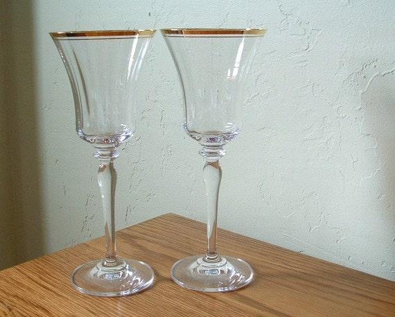 Vintage Mikasa Wine Glasses Crystal Jamestown Gold Rim Set Of