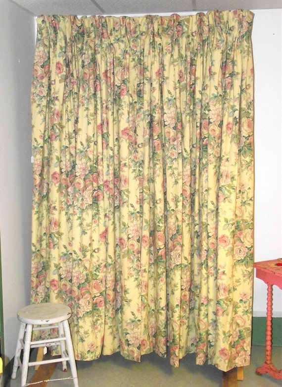 English cabbage rose floral bouquet vintage curtains pair for English floral curtains