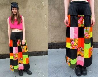 Floral Neon Patchwork Black Funky Bohemian Grunge Skirt