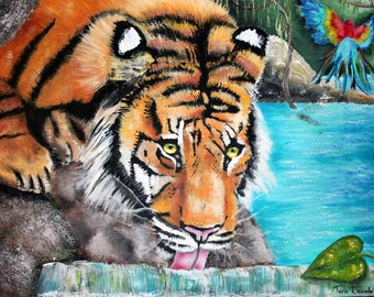 Tiger painting, tiger art, tropical oasis,jungle,wild tiger,stream,tiger in water,beautiful tiger, realistic tiger art,blue water,parrot,