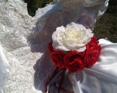 Wedding bouquet red and white silk flower bridal bouquet wedding flowers Rose bouquet