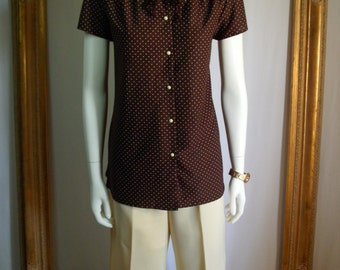 CLEARANCE - Vintage 1970's Brown Cap Sleeve Blouse with White Polka Dots - Size 18