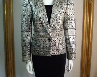 Vintage 1980's Ruth Matthews Silver Metallic/Black Jacket - Size 10
