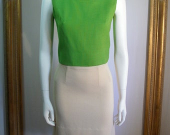CLEARANCE Vintage 1960's The Broadway Cream Colored Wool Knit Skirt - Size 16
