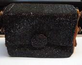 Vintage 1930s - 1940s Bakelite Du Bonnette Glass Beaded Purse - Accordion Handbag - Vintage 1940s Old Hollywood - 1930s 1940s Stage Prop