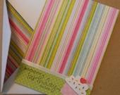 Happy Birthday card, Happy Birthday cupcake stationery, blank inside, sending you birthday wishes notecard