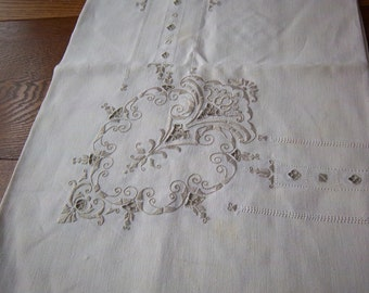 "Vintage Ivory Linen Tablecloth with Embroidery Detail and Cutwork 78"" x 63"""