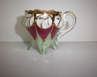 Vintage Porcelain Demitasse Cup Art Nouveau Style footed handpainted lusterware