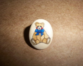 Vintage Teddy Bear Lapel Pin or Tie Tack small oval ceramic