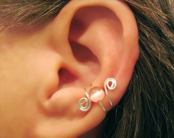 "No Piercing ""Cat's Eye Swirl "" Cartilage Ear Cuff Handmade 1 Cuff Sterling Silver"